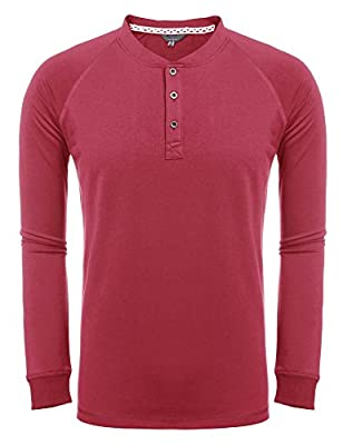 JINIDU Men's Casual Raglan Henley Shirts Long Sleeve Fashion T-Shirt