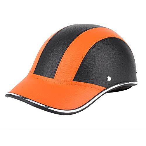 Mezzo casco da moto KIMISS, casco da mezza faccia in stile universale da baseball in ABS con cinturino per la testa per bici elettrica da moto(Nero e arancio)