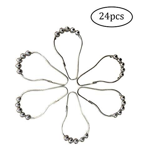 NaiCasy 24X Duschvorhang Ring Haken Fünf-Perle Hoist Haken Metall Rost- Vernickeln Badezimmer Rod Roller Ringe Haken