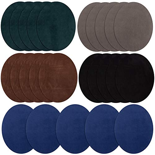 Toppe termoadesive da applicare con ferro da stiro, 5 colori, ovali, in pelle scamosciata, per gomiti ginocchia, toppe in velluto per riparare maglioni,kit di riparazione per abbigliamento e jeans
