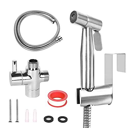 WEIDMAX Bidet de mano pulverizador Kit de pulverizador de níquel cepillado de acero inoxidable Baño de tela Lavadora de pañales ducha de pulverización Cabezal pulverizador para higiene personal