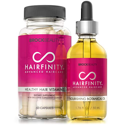 Hairfinity Nourishing Kit - Hair Growth Oil and Vitamins with Biotin for Dry Damaged Hair and Scalp - Silicone and Sulfate Free