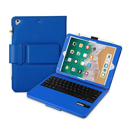 Vivefox iPad 9.7 Keyboard + Leather Case - 2018 iPad Folio Stand Cover, Detachable Keyboard Case with Pencil Holder, Auto Wake/Sleep Compatible Apple iPad 2018/2017, iPad Pro 9.7, iPad Air 2, (Blue)