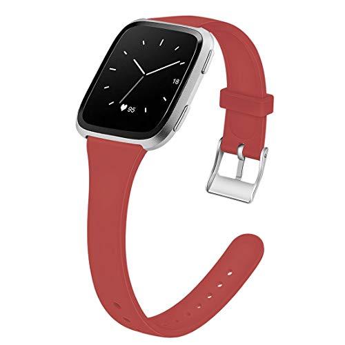 Silikon Uhrenarmbänder Schmaler Gurt Schnelle Veröffentlichung Armbänder Smartwatch Ersatzband Für Die Sport Edition Damen Männer Jugend Kinder (Color : Red, Size : 5.5-6.7inch)