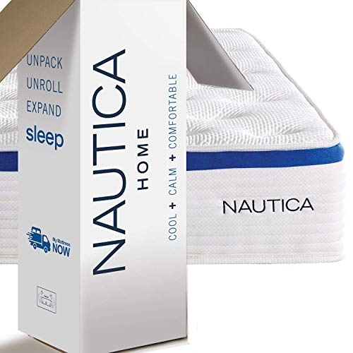 Nautica Home Mattress, Queen 12 inch Renew Hybrid Innerspring Bed with Cooling Latex Foam, Quilted Cover, Perimeter Edge Support, Pocketed Springs, Side, Back, Stomach Sleepers