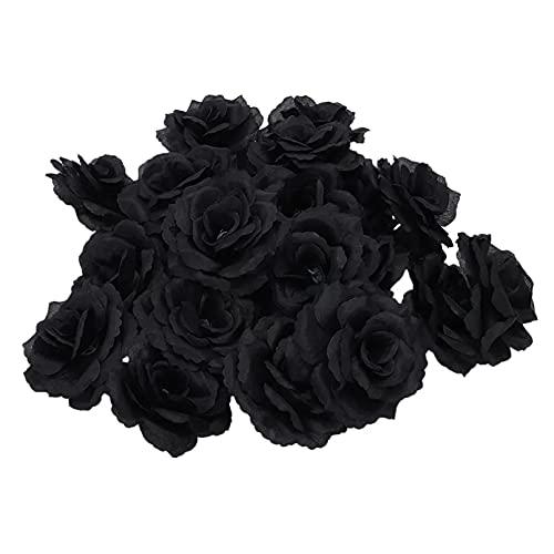VIOYO 20 Piezas Negro Rosa Flor de Seda Artificial Fiesta Boda casa Oficina jardín decoración DIY