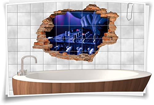 Medianlux 3D tegelafbeelding tegelstickers DJ muziek mixer party evenement disco studio folie digitale druk tegel badkamer