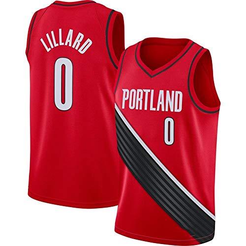 Männer NBA Jersey Damian Lillard, Portland Trail Blazer 0# Sportkleidung, Ineinander greifen Ärmel gestickte Unisex Basketball,Rot,XL