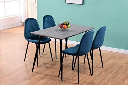 GOLDFAN Esstisch mit 4 Samtstühlen Rechteckigem Esstisch Küchentisch im Retro-Design Esstisch mit Metallfüßen für Wohnzimmer und Büro Blau