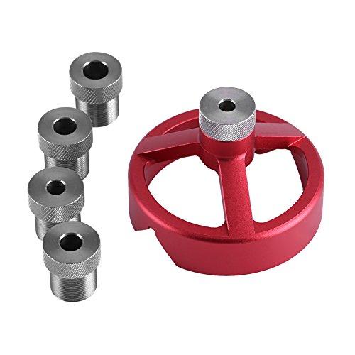DEWIN 6/7/8/9/10mm Bohrerführung, Zentrierwerkzeug für die Holzbearbeitung, Set für vertikale Bohrvorrichtungen(rot)