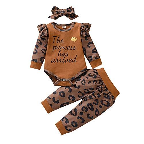 I3CKIZCE 2St Kleinkind Kleinkind Baby Mädchen Leopardenmuster Bodysuit Langflieger-Strampler Jumpsuit Tops + Hosen + Turban Stirnband Kleidung Set 0-24Monate (Braun, 6-12 Monate)