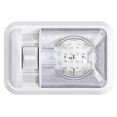 12V Led RV Ceiling Dome Light RV Interior Lighting for Trailer Camper with Switch, Single Dome 300LM
