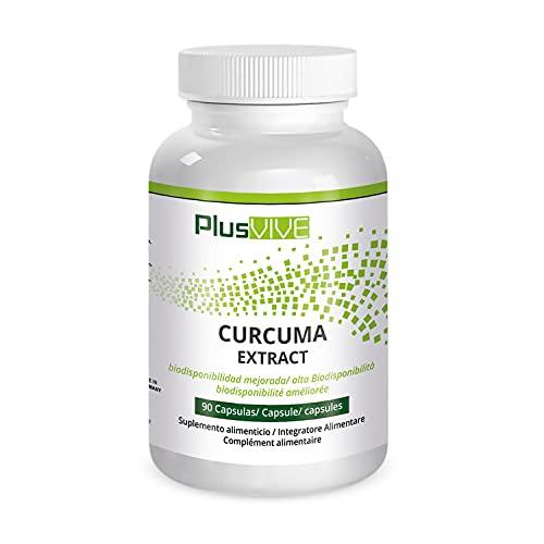 Plusvive - Extracto de cúrcuma, altamente dosificado con piperina y fórmula de mejora de la biodisponibilidad