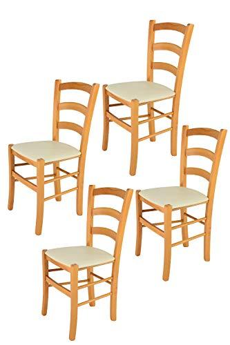Tommychairs - Set 4 sillas Venice para Cocina y Comedor, Estructura en Madera de Haya Color Miel y Asiento tapizado en Polipiel Color Marfil