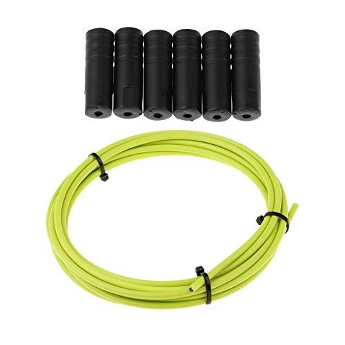 SM SunniMix Funda De Tubo De Carcasa De Cable De Cambio De Bicicleta Y Puntas De Tapas De Extremo De Cables De Bicicleta 6pcs - Verde, 3m