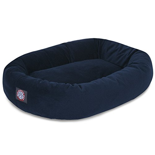 Majestic Pet 40' Navy Velvet Bagel Dog Bed