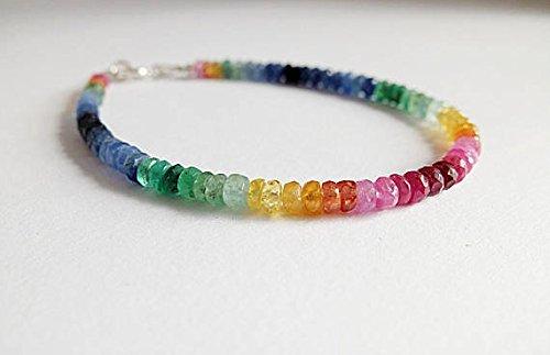 Pulsera multicolor de piedras preciosas de arcoíris de Ombre con piedras facetadas multicolor, rubí arcoíris, esmeralda, zafiro, multizafiro, apilable de 3 a 4 mm