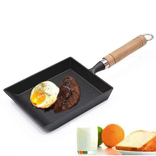 Kochtopf Antihaft-Spiegeleier Pfannkuchen gebratenes Steak Kochtopf, Grill, Picknick bequem zu reinigen Wok Induktion Mit Holzdeckel, Gusseisen, schwarz 15CM