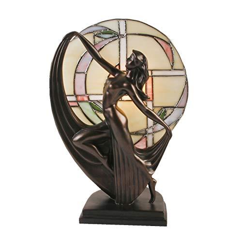Lampada art deco con figura color bronzo di ragazza che danza e vetro stile Tiffany