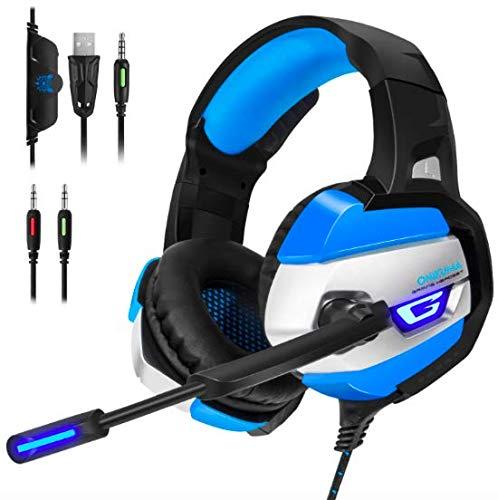 ONIKUMA Auriculares para juegos para PS4, Xbox One, Nintendo Switch, PC. Auriculares para juegos con sonido envolvente 7.1 estéreo, luces LED, cancelación de ruido y micrófono