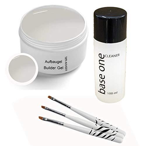 UV Gel Classic Aufbaugel 5 ml inkl. 3 tlg. Pinselset und Cleaner 100ml