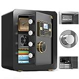 FZYE Caja Fuerte Gabinete Antirrobo para el hogar con Clave Huella Digital 45 cm Huella Digital Clave de contraseña WiFi Abierto para el Hotel de la Oficina en casa (Color: Negro, Tamañ