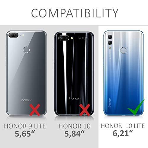 kwmobile Huawei Honor 10 Lite Hülle - Handyhülle für Huawei Honor 10 Lite - Handy Case in Travel Schriftzug Design Schwarz Mehrfarbig Transparent - 6
