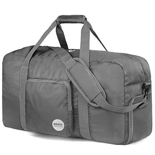 WANDF Foldable Travel Duffel Bag Sac de Voyage Pliable Sac de Sport Gym Résistant à l'eau Nylon (Gris, 80L)