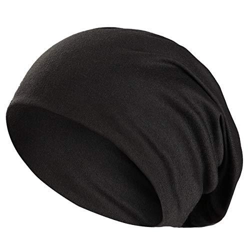 Wirezoll Winter Leicht und Weich Slouch Beanie Mütze für Damen, Herren, Jungen und Mädchen, Schwarz, Einheitsgröße
