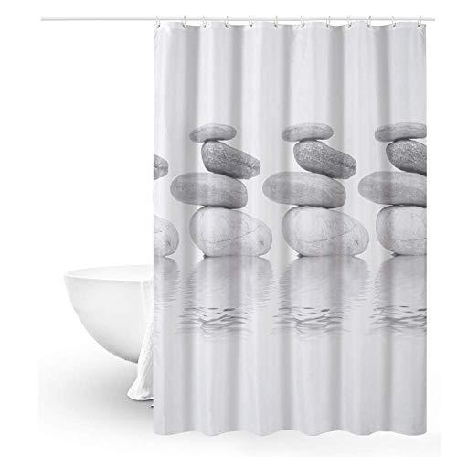 Queta Cortina de baño Cortina de Ducha antimoho Cortina de Ducha de poliéster 120 x 180 cm, Impermeable, con 12 Anillas