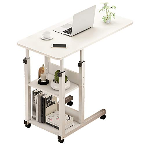 AWYGHJ Adjustable Height Durable Simple Computer Desk Bed Table, Swivel Wheel Rolling Cart Stand Adjustable Over Bedside Home Desk, for Laptop, Writing