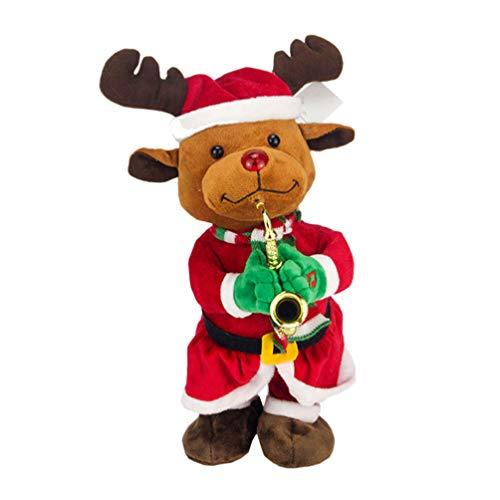 Hakka Figura Navideña de Felpa Renos Cantando Bailando Juguete Eléctrico Reno de Peluche de Pie Figuritas de Alce Muñeca Regalo Divertido Suministros para Fiestas Navideñas Favorece