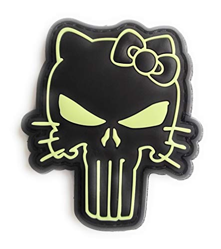 Titan One Europe - Hello Punisher Kitty Glow In The Dark Tactical Morale Patch (3D-PVC Rubber) Kitty Castigador Parche Táctico PVC Fosforescente