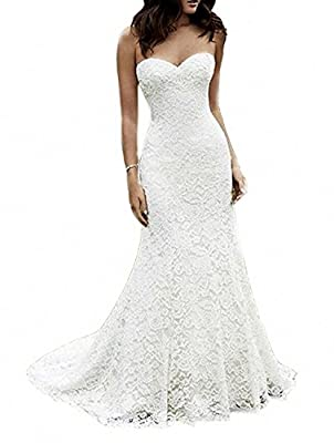 SIQINZHENG Women's Sweetheart Full Lace Beach Wedding Dress Mermaid Bridal Gown Ivory