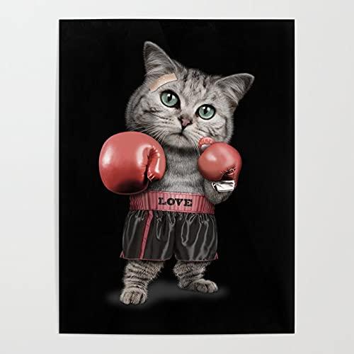 Beaxqb Pintura por Número de Kits Animal Gato Boxeo DIY Pintura al óleo para Adultos Niños Pared LienzoArte decoración del hogar 40x50cmSin Marco