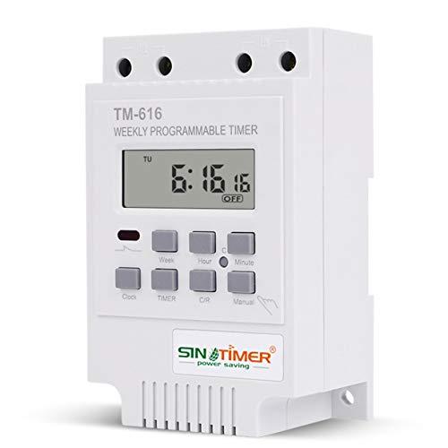Temporizador Manual de usuario Sinotimer Tm616W-2 30A 220V Interruptor de tiempo digital programable semanal electrónico Temporizador de relé Temporizador de control Montaje en carril Din