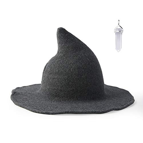 FASHIXD Womens Witch Hat Wizard Kinitted-Wool Hats Adult Costume Party Accessory Halloween Masquerade Cosplay Cap (Gray)