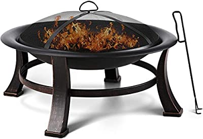 Femor Fire Bowl, Garden Terrace Fire Pit with Grill, Poker & Protective Grille, Fire Pit for Heating/BBQ, Fire Basket with Waterproof Protective Cover, for Camping Yard Garden Terrace(76x76x46cm) from Femor