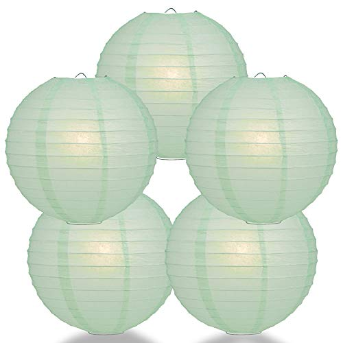Quasimoon PaperLanternStore.com (5-Pack) 10 Inch Cool Mint Green Round Paper Lantern, Even Ribbing, Hanging Decoration