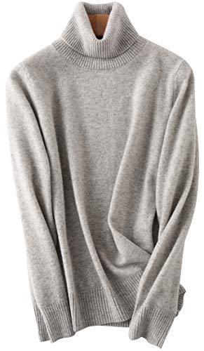 PHELEAD Damen 100% Merinowolle Pullover Winterpullover mit hohem Stehkragen aus Langarm Rollkragenpullover Slim warm Strick Sweater (XL, Lingt Grey)