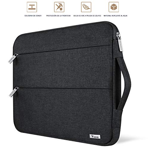 Voova 15 15.6 14 Pulgadas Funda para Portátil, Impermeable con Interior Suave, Compatible con MacBook Pro,Surface Laptop 3 15,XPS 15, Chromebook 14/15 con Asa y Bolsillos Laterales,(Negro)