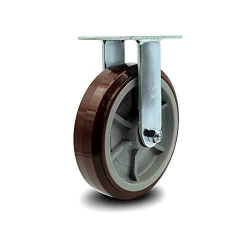 "Polyurethane on Polyolefin Rigid Top Plate Caster w/8"" x 2"" Maroon Wheel - 1000 lbs Capacity/Caster - Service Caster Brand"