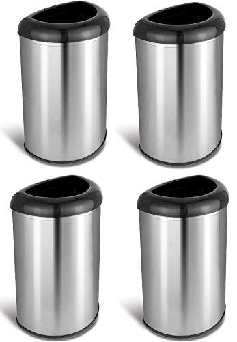 NINESTARS OTT-50-19BK Open Top Office Bathroom Trash Can, 13 Gal 50L, Stainless Steel Base (D Shape,...