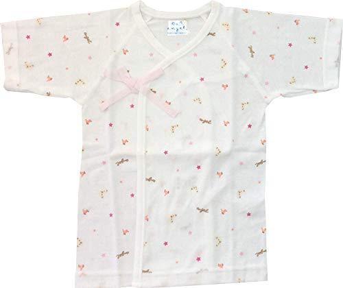 エンゼル クマさん柄 プリント短肌着 新生児肌着 日本製 50〜70cm 綿100% 通年素材 (ピンク)