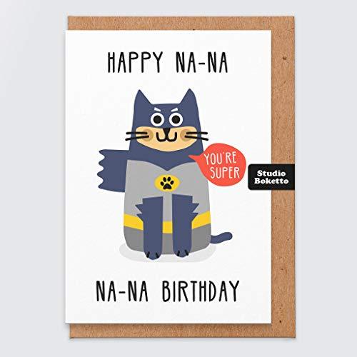 Katze Geburtstagskarte lustig - Retro - Comic-Buch - Na Na Na Na Na Geburtstag - Nerdy - Geeky - Katze Geburtstagskarte - Super Hero - Katze Geschenke - Freundin - Bruder - für Katze - von Pet