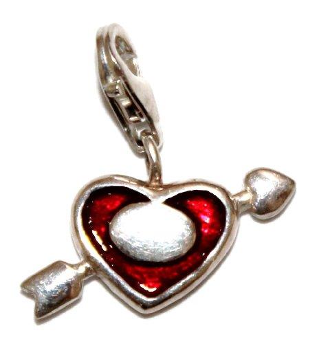 Charm Anhänger Herz mit Pfeil 925 Silber transluzent rot emailliert