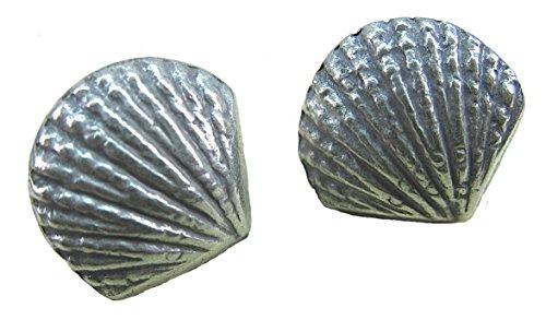 FaithOwl - Pendientes de tuerca de plata de ley 925, diseño tribal de concha de mar