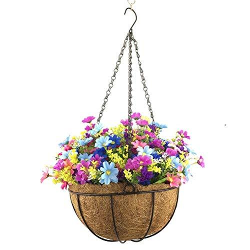 Yosposs Fleurs à suspendre paniers Kz9524-w491 artificielle Daisy Fleurs Patio pelouse Jardin Panier à suspendre avec chaîne 25,4 cm de pot de fleurs, extérieur/intérieur Pour Maison/décoration de jardin