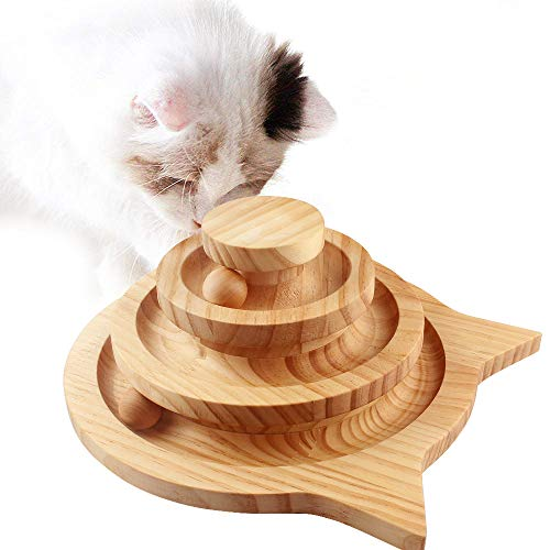 RIFFER 猫のおもちゃ ボール ペット用品 猫グッズ 木製おもちゃ 猫じゃらし 猫プレゼント 運動不足解消 ストレス解消 知育 成猫のおもちゃ 組立不要 安全素材 猫みみ形