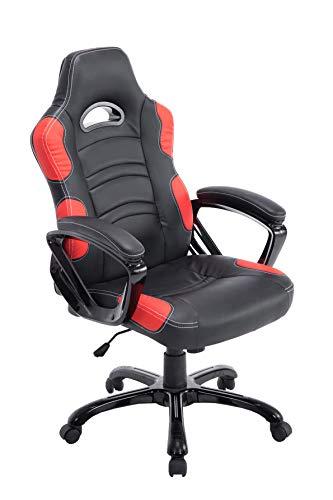 CLP Bürostuhl Ricardo XL mit hochwertiger Polsterung und Kunstlederbezug I Höhenverstellbarer Drehstuhl I erhältlich, Farbe:schwarz/rot